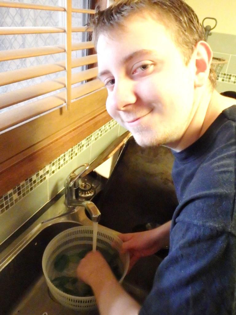 Ben washing basil leaves