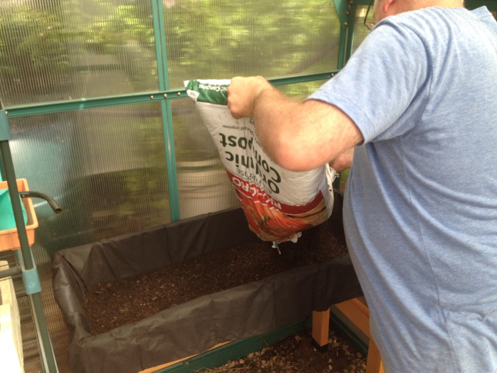 Filling the VegTrug with soil