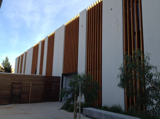 Structural e-crete panels at the rear of the library