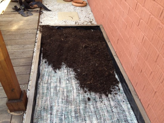 Filling the wicking bed with soil