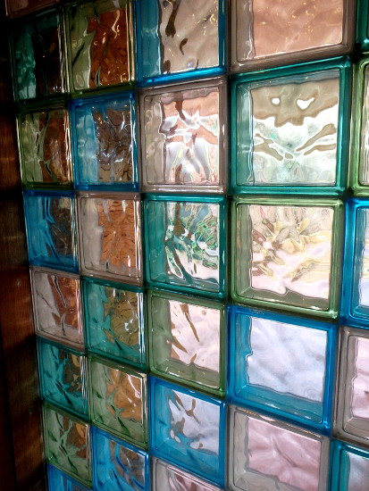 Close up Glass Brick window