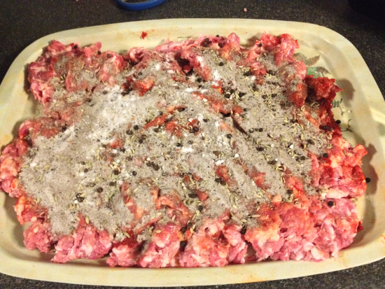 Minced pork shoulder with salami spice mix