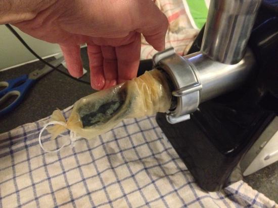 Casing on sausage filler attachement