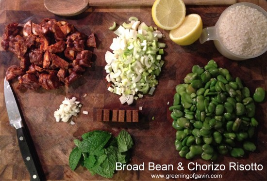 Broad Bean and Chorizo Risotto ingredients