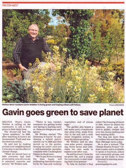 Gavin goes green to save planet