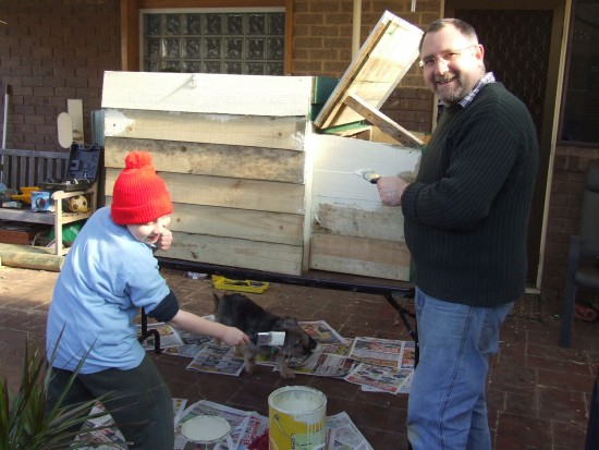Nothing wrong with asking for help.  Painting the first chook house circa June 2008