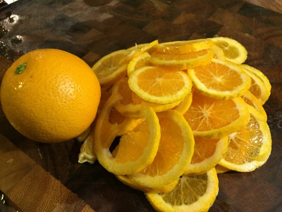 Sliced oranges for 2 fruit marmalade
