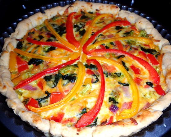 Vegetable quiche cooked