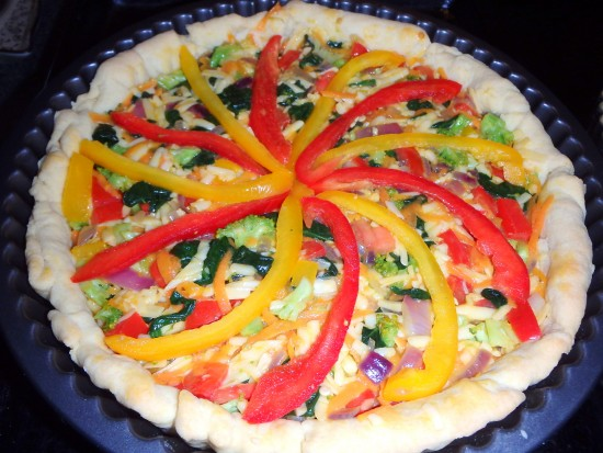 Vegetable quiche uncooked