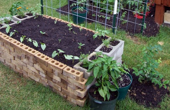 Brick raised garden bed
