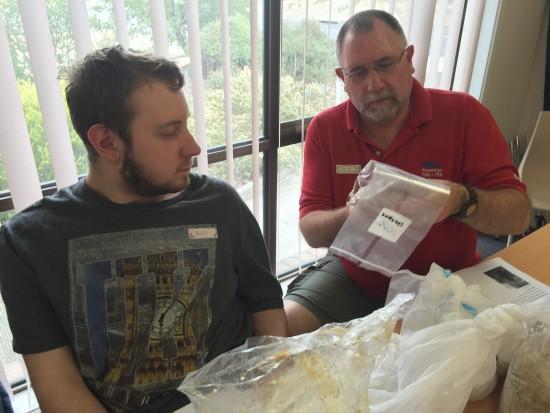 Gavin & Ben inspecting Shiitake plugs