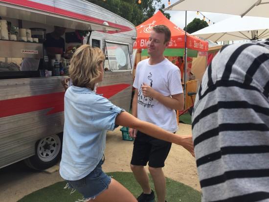 Dancing people at Food Village