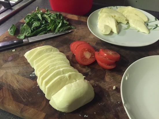 Home grown dinners - Fresh Mozzarella, Basil, and Tomato